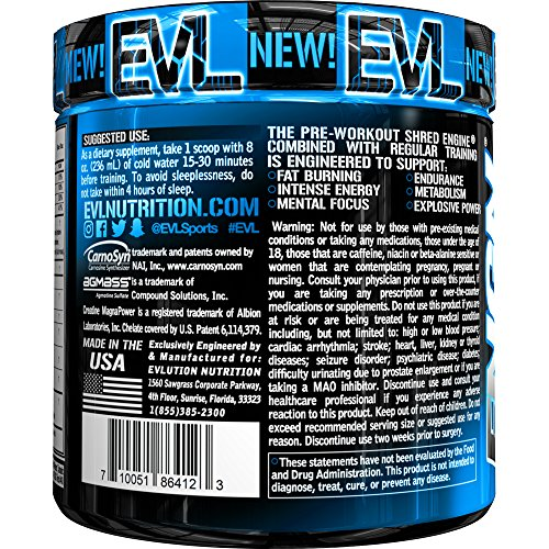 Evlution Nutrition ENGN SHRED Pre workout Thermogenic Fat Burner Powder, Energy, Weight loss, 30 Servings