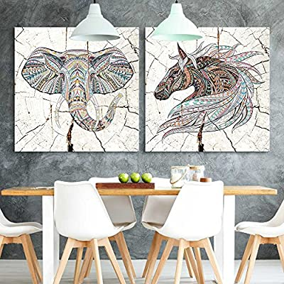 Created Just For You, Handsome Composition, 2 Panel Square Tribal Animals Wood Effect x 2 Panels