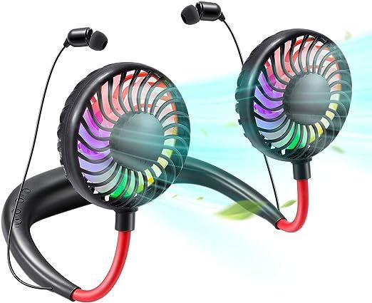 EXTSUD Ventilador de Cuello Mini Ventilador Portátil USB Ventilador con Auriculares Bluetooth, Negro: Amazon.es: Hogar