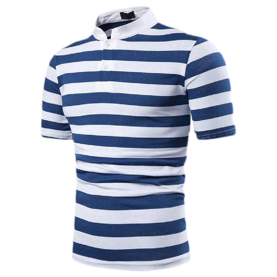 Rrive Men Fashion Short Sleeve Lapel OL Striped T-Shirt Tee Top