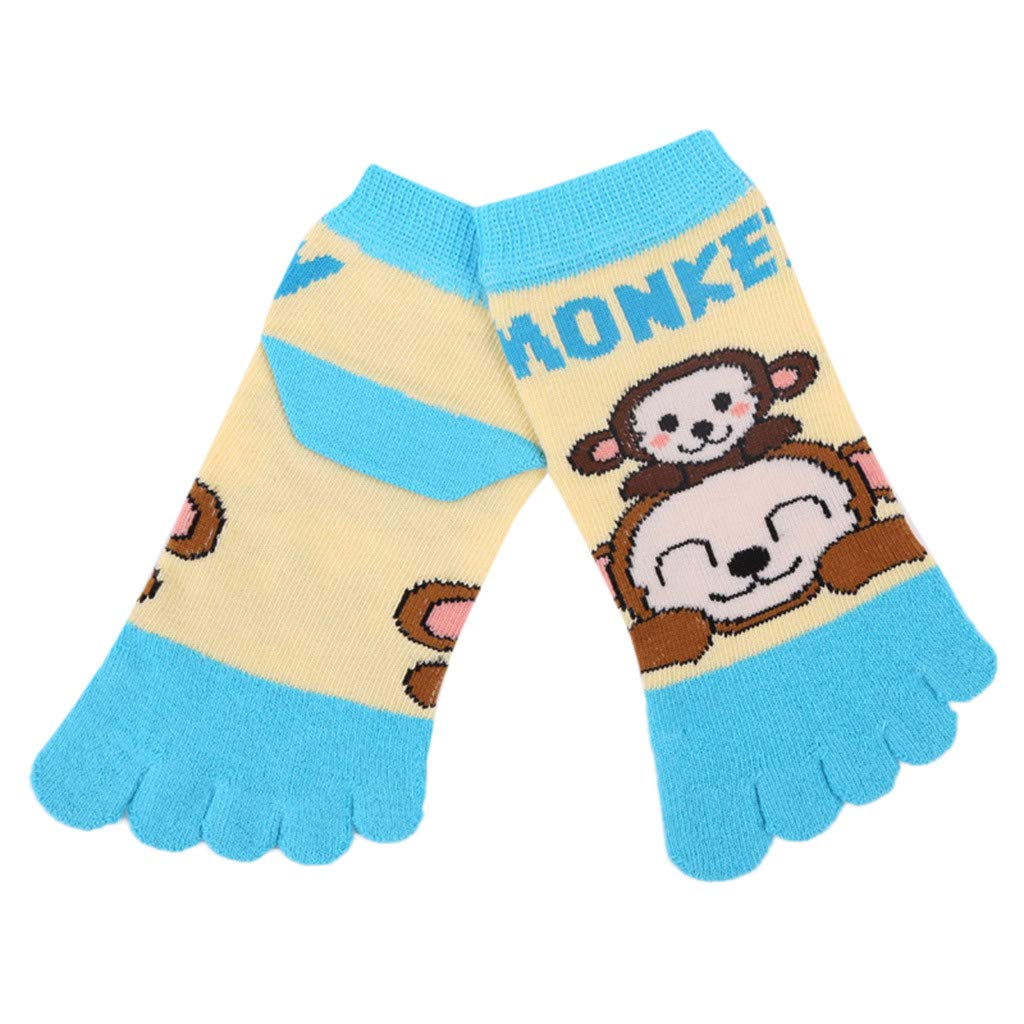 Lollyeca Infant Baby Cartoon Elephant Panda Five Fingers Anti Slip Cotton Socks (Blue)