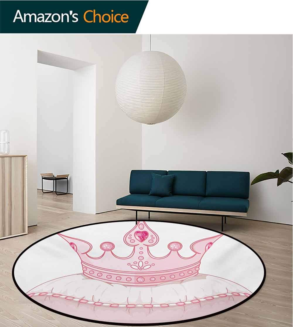 RUGSMAT Queen Modern Machine Washable Round Bath Mat,Cartoon Style Cute Pink Princess Crown On Pillow Fairy Tail Fantasy Girlish Fashion Non-Slip Soft Floor Mat Home Decor,Round-31 Inch