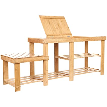 Clevr Natural Bamboo Shoe Storage Rack Bench With 2 Tier Storage Drawer On  Top,