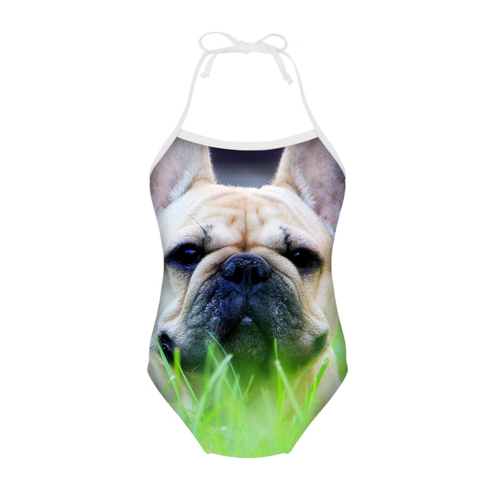 Sannovo French Bulldog Print One Piece Animal Swimsuit Girl Cute Bathing Suit 7T-8T