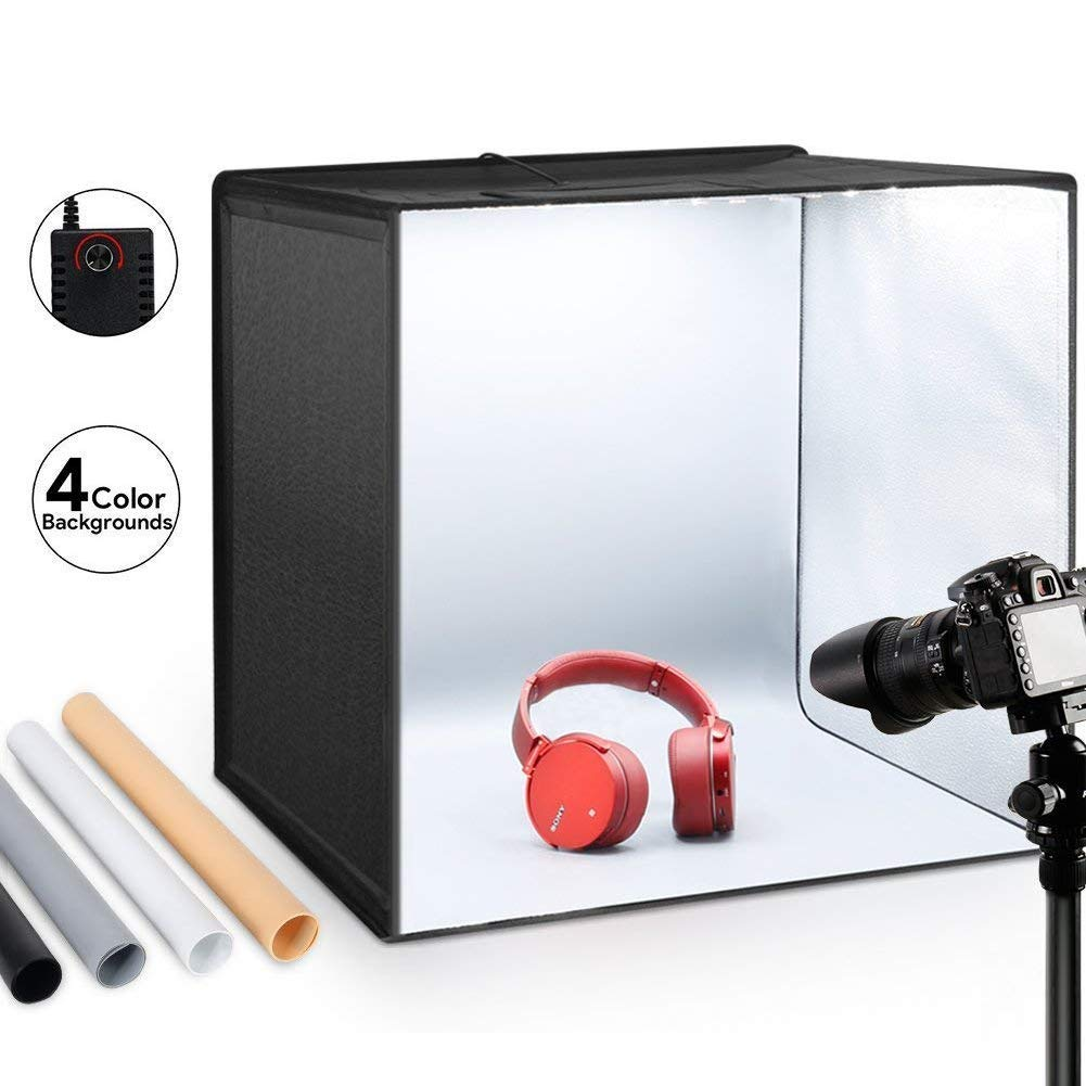 ESDDI Photo Studio Light Box 20''/50cm Adjustable Brightness Portable Folding Hook & Loop Professional Booth Table Top Photography Lighting Kit 120 LED Lights 4 Colors Backdrops by ESDDI