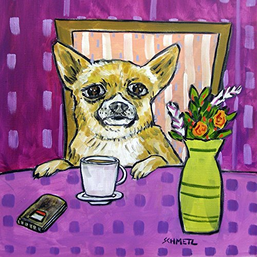 Chihuahua at the Cafe Coffee Shopdog art tile coaster gift