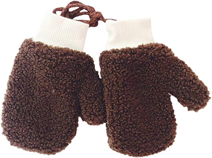 5-10Years Winter Knitted Gloves Girl Boys Warm Rope Full Finger Mittens Gloves//