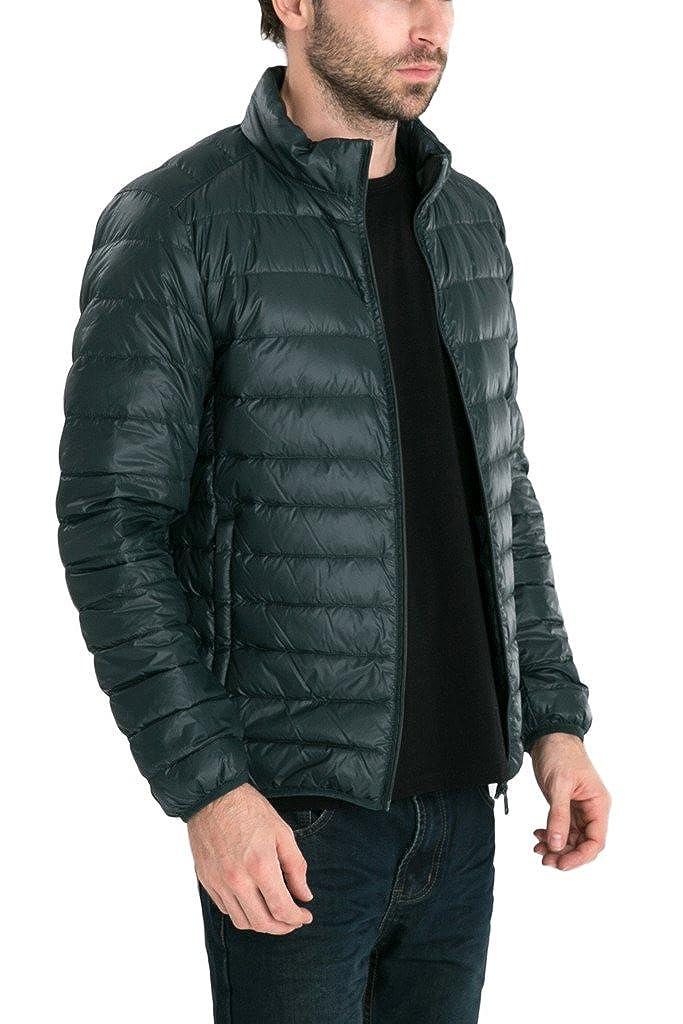 Mens Retro Lightweight Packable Down Puffer Coat Stylish Outerwear Jacket