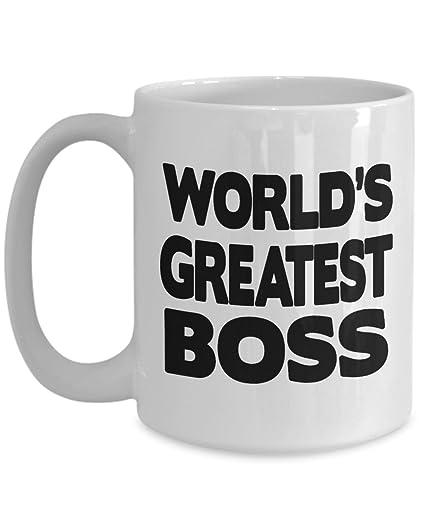 Amazoncom Worlds Greatest Boss Mug Funny Office Gift White