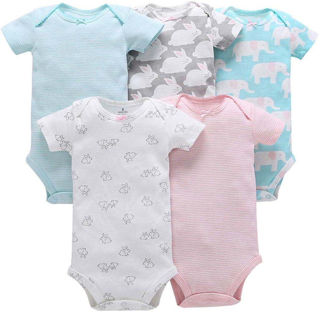 Vine 5 St/ücke Baby Kurzarm-Body Overall Baumwolle Jungen M/ädchen Strampler Neugeborenes Dusche Geschenk Sets
