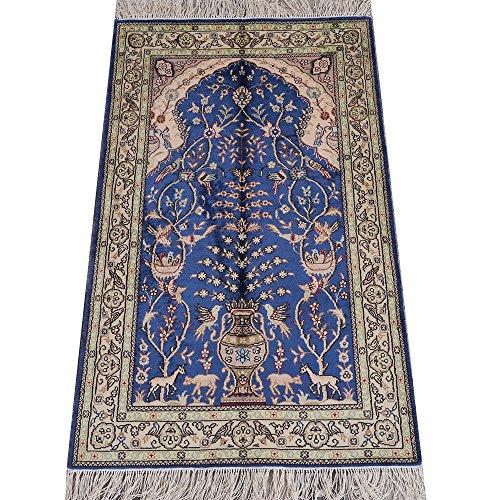 Vintage Hand Woven Rug - YILONG CARPET 2.5'x4' Handmade Traditional Persian Silk Rug Prayer Rug Hand Woven Vintage Carpet Blue 346B2.5X4