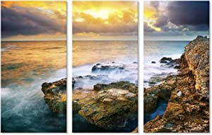7CANVAS - 3 Panels Rocky Sea Seascape Canvas Print Wall Art Modern Sea Beach Wall Decor for Living Room Bedroom Wall Picture Ocean Landscape Framed Ready to Hang16x32 inchx3pcs
