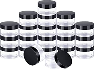 24 Pieces Clear Plastic Round Storage Jars Wide-Mouth Plastic Containers Jars with Lids for Storage Liquid and Solid Products (Black Lid, 1 oz)