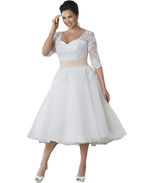 Hot Dresses Tea Length Wedding Dress Half Sleeve Plus Size Lace Gowns US 2