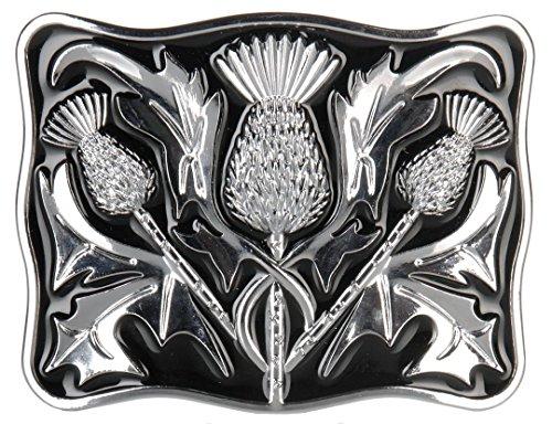 Scottish Contemporary Thistle Chrome Kilt Belt Buckle with Black Enamel Black Enamel Buckle