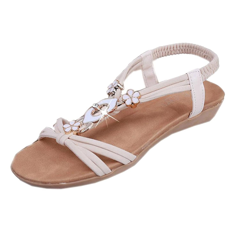 Summer Sandals Inkach Women Flat Beaded Shoes Bohemia Sandals Peep-Toe Outdoor Sandals