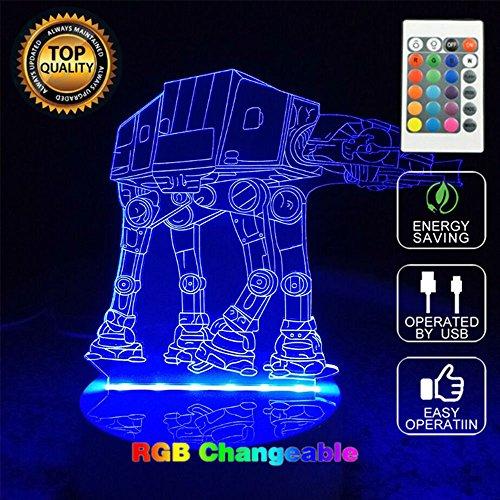 [AT-AT Walker Transport 3D Star Wars Bedroom Children Room Decorative Night Multi 7 Color Change USB Touch button LED Desk Table Light] (Star Wars At At Walker)