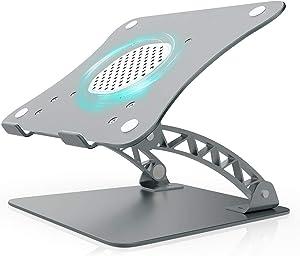 Laptop Stand with Fan, Ergonomic Aluminum Adjustable Laptop Notebook Stand Riser Holder Desktop for HP Dell Lenovo Acer MacBook 9.7-17 Inch Laptop Compter Tablet(Grey)