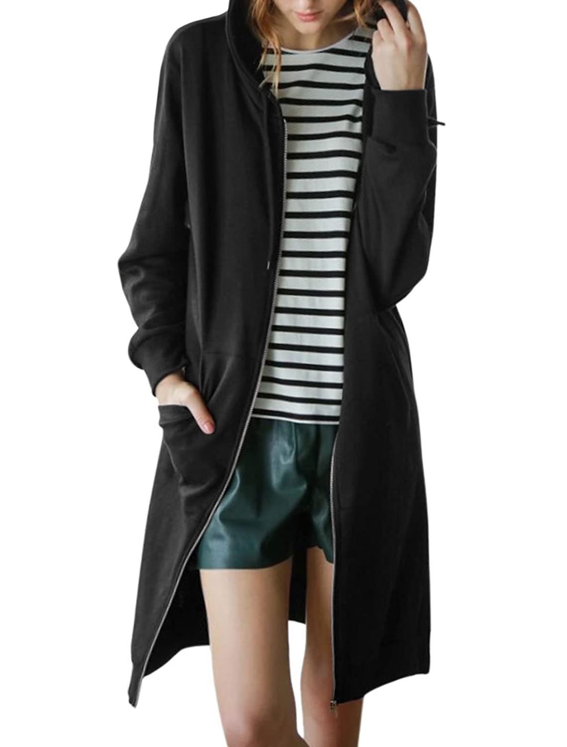 uxcell Women Long Sleeves Drawstring Hooded Split Sides Knee Length Jacket
