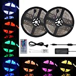 Waterproof LED Strip Light 32.8ft (10m) RGB 300LEDs Color Changing 5050 Dimmable Multicolored LED Lights Kit with 44key Remote for Ceiling Bar Counter Cabinet Lighting by wangxin