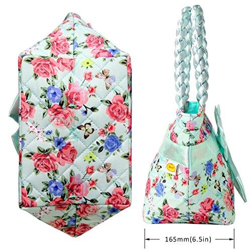 Exklusiv ptb052- multidestination Handtasche Freizeit-N & # X153; UD zu zwei Schleifen Umhängetasche Outdoor Blumen Drucken in Leinwand komfortabel für Damen/Mädchen (grün)