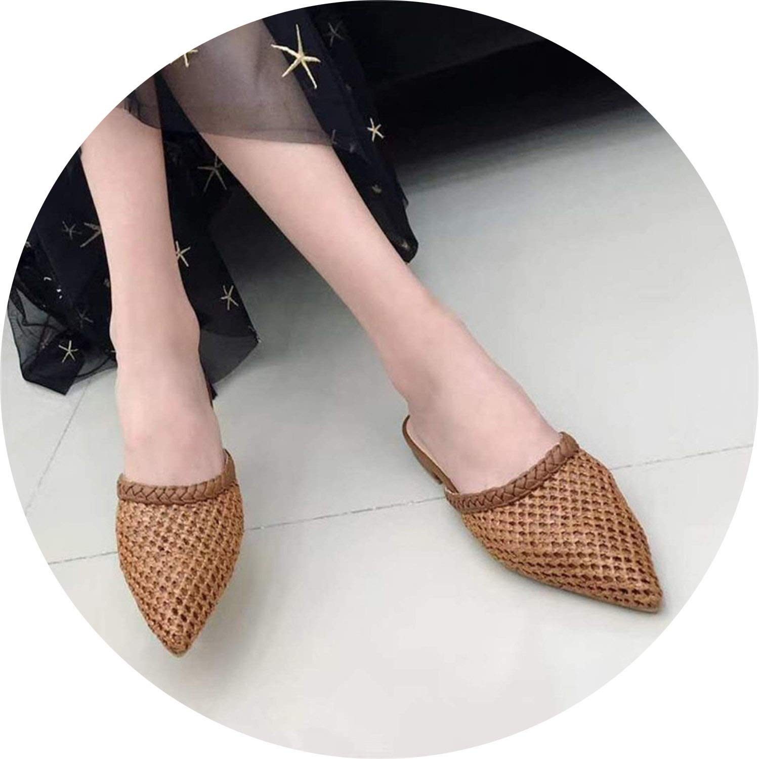 Chocolate Little lemon Fashion Women Mules Flats Slippers Women Slides Pointed Toe shoes Slippers Mules Slider shoes
