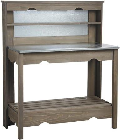 Cuisine extérieure table à plancha en bois et zinc