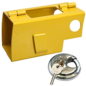 Popamazing security Universal Trailer Caravan Hitch Cover Lock Yellow
