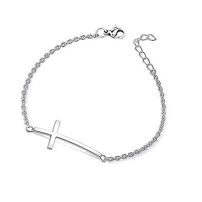 Wusuaned Simple Design Sideways Cross Bracelet Necklace Religious