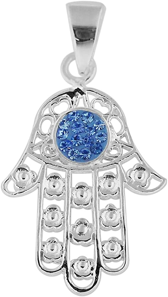 AtoZ Piercing Multi Crystal Stone Flower Fatima Hand 925 Sterling Silver Pendant