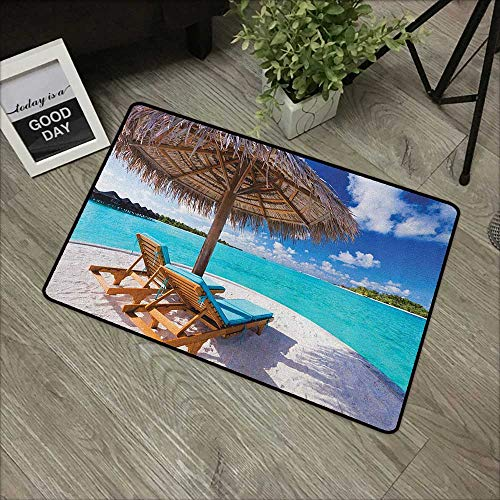 - Buck Haggai Printing Door Mat Beach,Maldives Scenic Seaside View Sunbeds Under Umbrella Romantic Honeymoon Theme, Brown Aqua White,XL Jumbo, No Phthalate, Water Resistant, 24