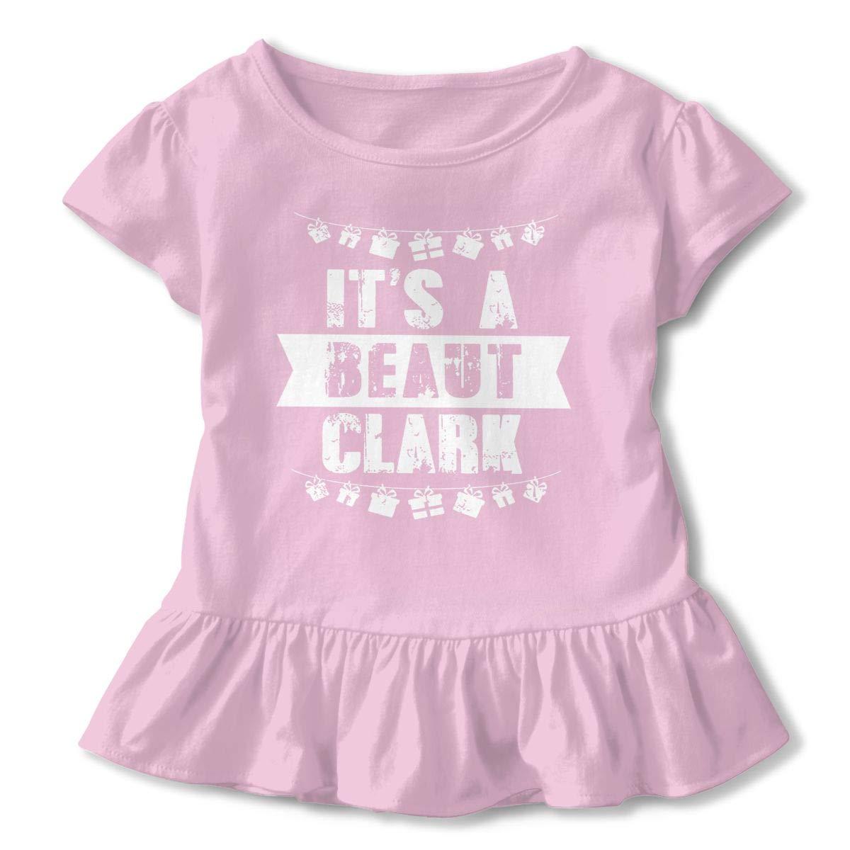 Beaut Clark Christmas Cute Toddler Kids Girls Short Sleeves Shirts Ruffles for Daily Wear Party School
