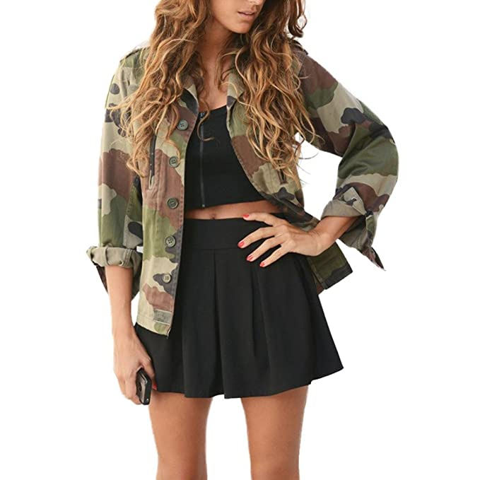Koly Giacca Camouflage Donna Autunno Inverno Giacca Giacche Lungo ... 73054337abe