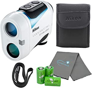 Nikon Coolshot Pro Golf Rangefinder Stabilized Waterproof Range Finder Bundle with 3 Viridian CR2 Batteries and a Lumintrail Cleaning Cloth