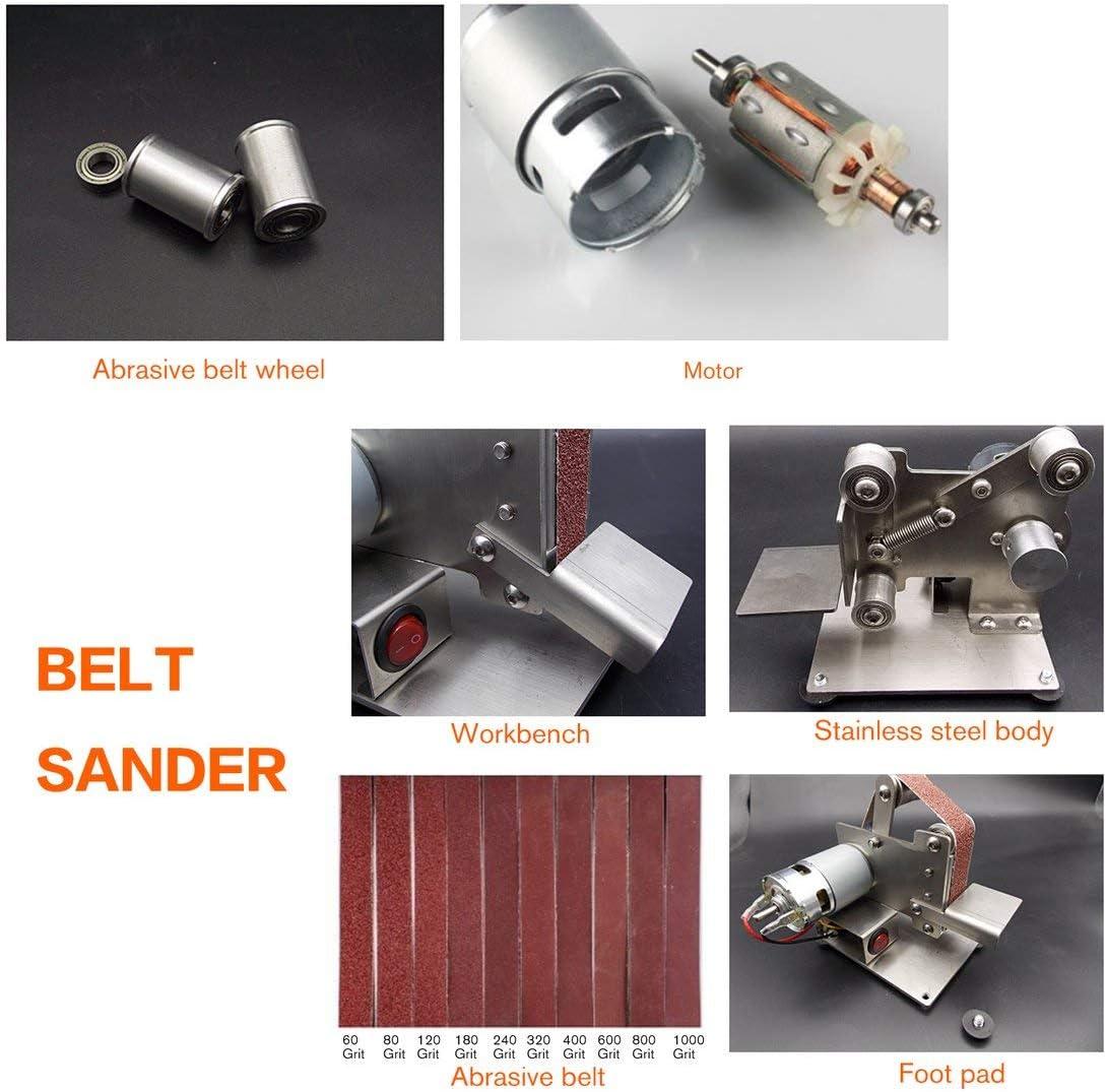 Multifunktions-Schleifer Mini Elektrischer Bandschleifer Poliermaschine Schneider Kanten Sch/ärfer Bandschleifer Schleifmaschine Silber