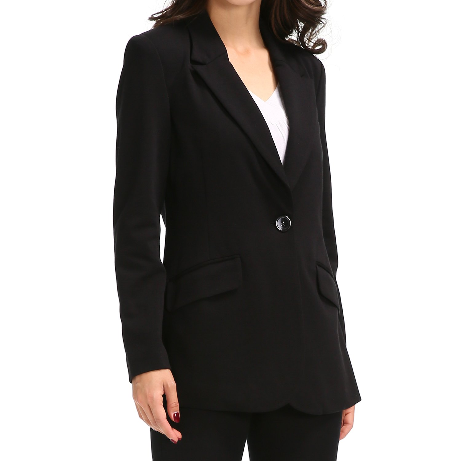 Tasta Women's Single Button Blazer Jacket Business Suit Long Sleeve Coat with Padded Shoulders (US 4, Long Style Black)