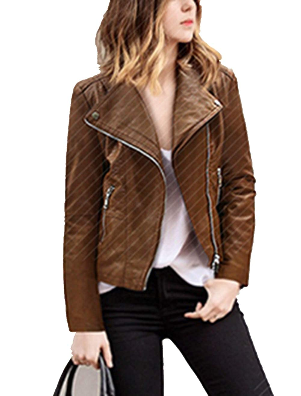 RQH Womens Faux Leather Casual Collarless Short Coat Jackets Slim Moto Jacket