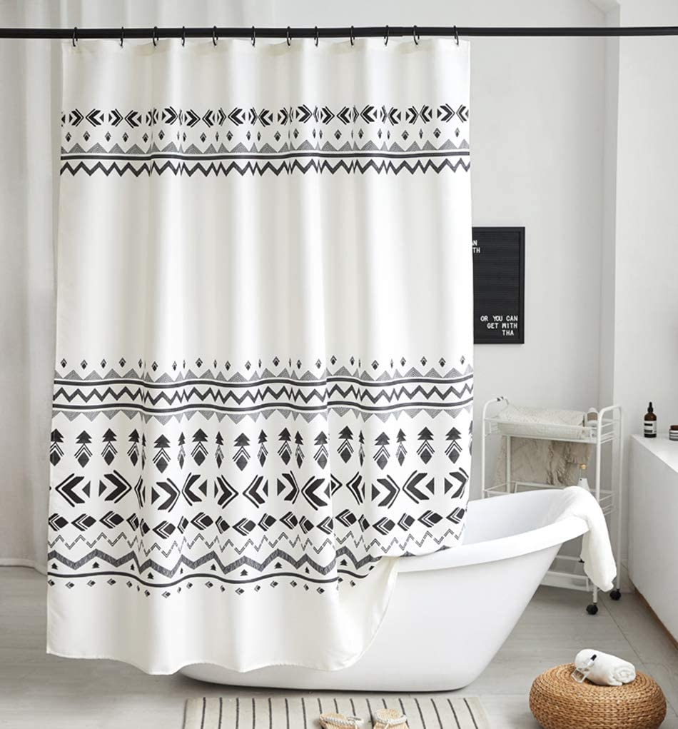 Uphome Fabric Shower Curtain Black and White Geometric Tribal Cloth Shower Curtain Set with Hooks Chic Boho Bathroom Decor,Heavy Duty Waterproof, 72x72