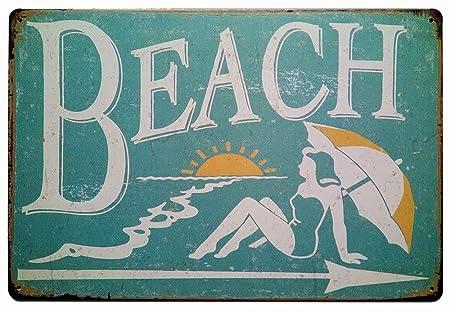 Carlena Cartel de Metal Beach, Estilo Vintage, para Barra de ...
