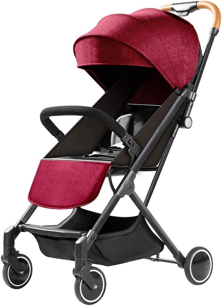 トラベルシステム軽量ベビーカー、新生児男の子と女の子のための大型バスケット、折りたたみ、旅行にやさしい、とベビーカー (Color : Red)