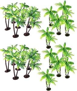 HEALLILY 24pcs Plastic Coconut Palm Tree Miniature Plant Pots Bonsai Mini Coconut Tree Decor Artificial Plant Decoration Craft Micro Landscape for Aquarium Home Office Store Green
