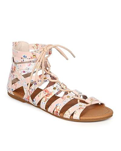 2c04c9143bd6 Women Floral Stud Lace Up Gladiator Flat Sandal CG17 - Nude Leatherette  (Size  7.0