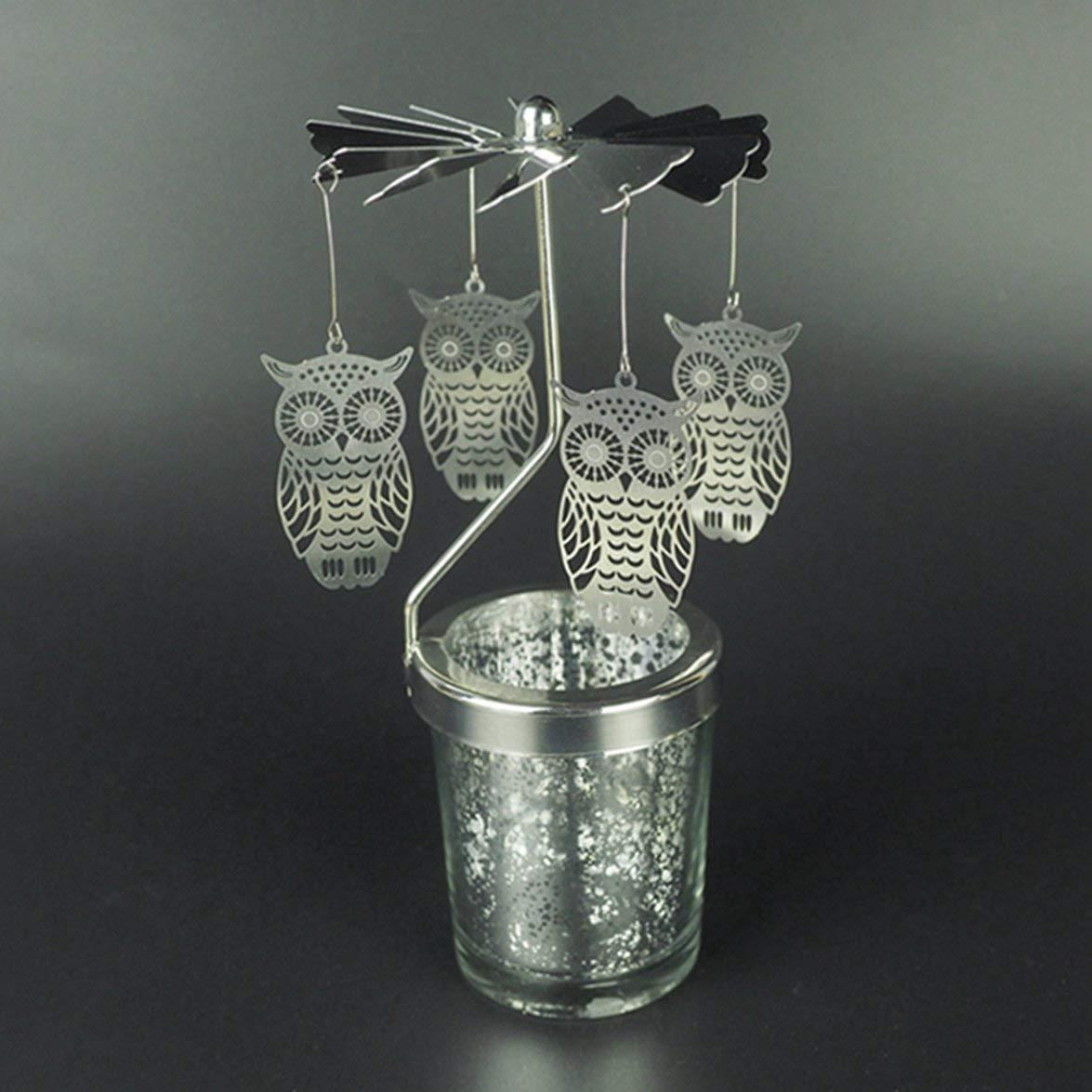 Kongqiabona Forma del Gufo Romantico Rotazione candeliere Girevole Porta Mulino a Vento Cielo Stellato portacandele DIY Tavolo scrivania Decor Regalo di Natale