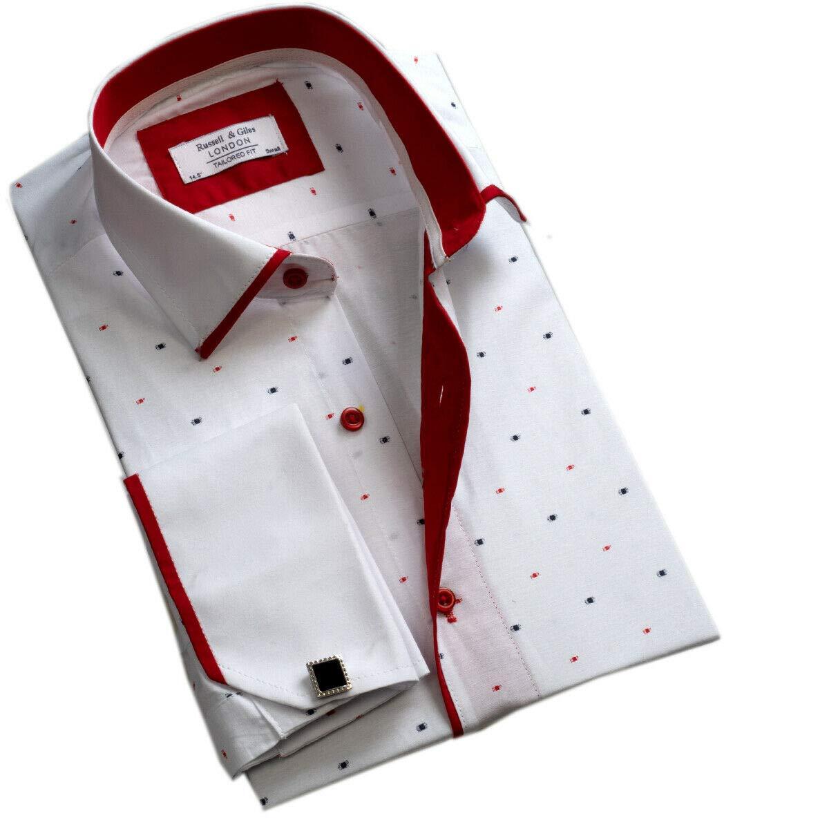 Russell /& Giles Gemelli in Metallo Inclusi Camicia da Uomo con Doppio Risvolto Formale