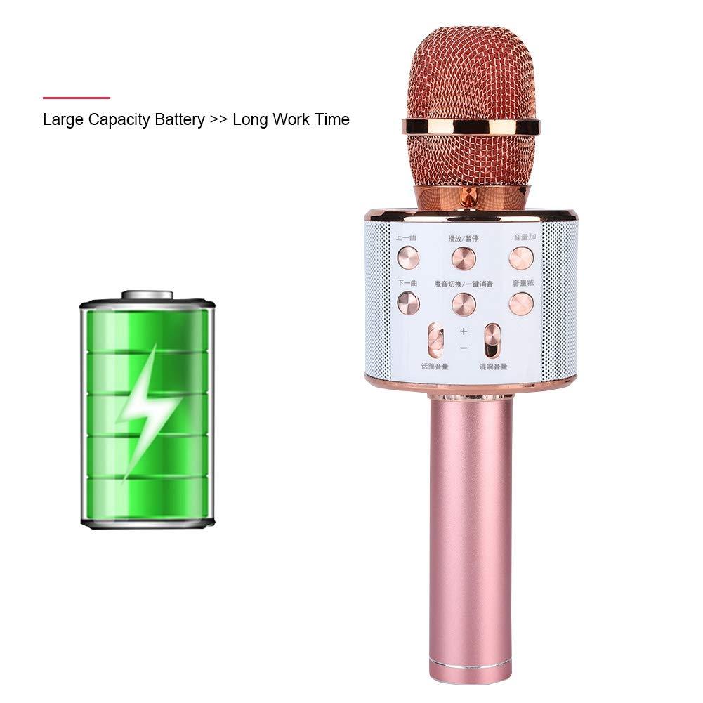 ASHATA Karaoke Machine,Stereo Surrounding Sound Karaoke Bluetooth Microphone with Speaker Stereo Surrounding Sound Support U Disk/TF Card,Wireless Karaoke Microphone MIC with Long Play Time by ASHATA (Image #6)