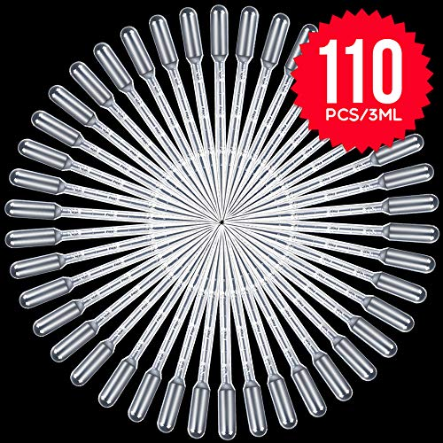 Teenitor 3ml Pipette, Top Quality Disposable Pipettes Transfer Pipettes 3ml Eye Dropper for Essential Oil Pipette Makeup Tool 110pcs