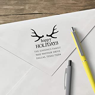 product image for World's Favorite Custom Address Stamp – Three Designing Women, The Antler Happy Holidays Address Stamp (CSH10002S) (Design Clip Only)