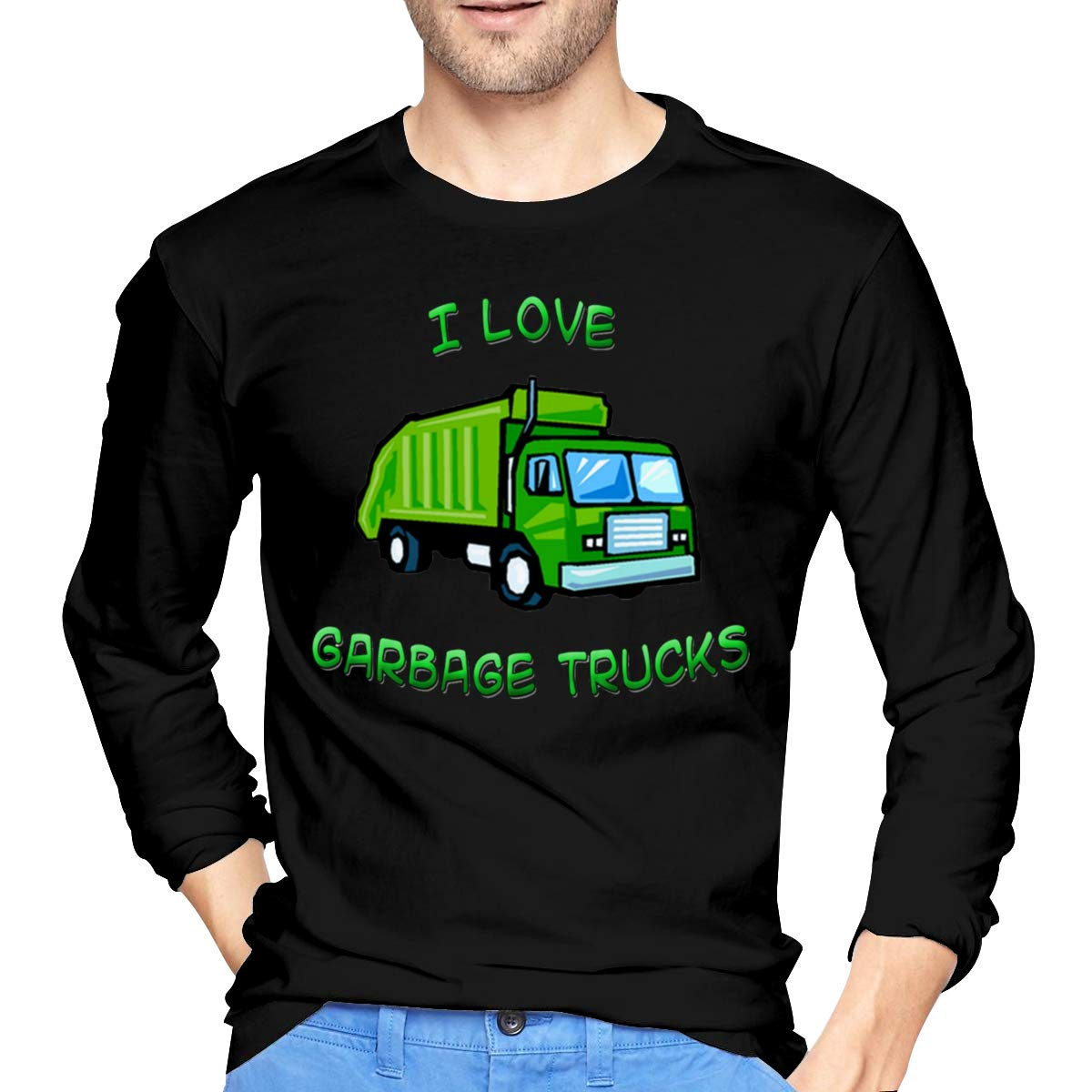 Wanjirong Men Print Green I Love Garbage Trucks Long Sleeve T-Shirts