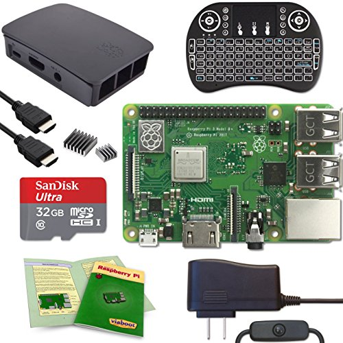 Viaboot Raspberry Pi 3 B+ Deluxe Kit - Official 32GB MicroSD Card, Official Rasbperry Pi Foundation Black/Gray Case, Backlit Keyboard Edition