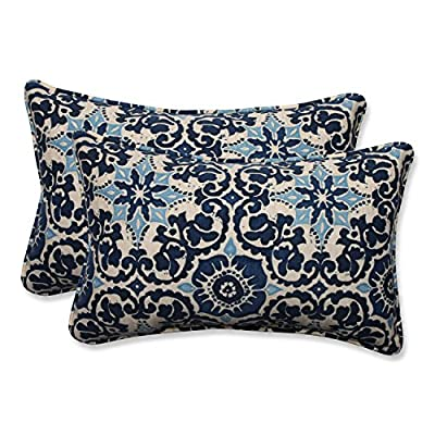 Pillow Perfect Outdoor/Indoor Woodblock Prism Rectangular Throw Pillow (Set of 2), Blue - Includes two (2) outdoor pillows, resists weather and fading in sunlight; Suitable for indoor and outdoor use Plush Fill - 100-percent polyester fiber filling Edges of outdoor pillows are trimmed with matching fabric and cord to sit perfectly on your outdoor patio furniture - living-room-soft-furnishings, living-room, decorative-pillows - 619J3NPwiRL. SS400  -